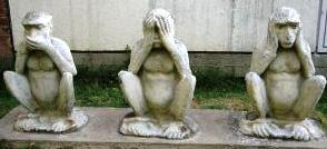 Gandhi's three monkeys copyright taj travel India miniguide images