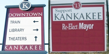 City of Kankakee way-finding signs purchased from Norcross, Georgia displayed next to Epstein look-a-like which has some text covered so design features are clear.